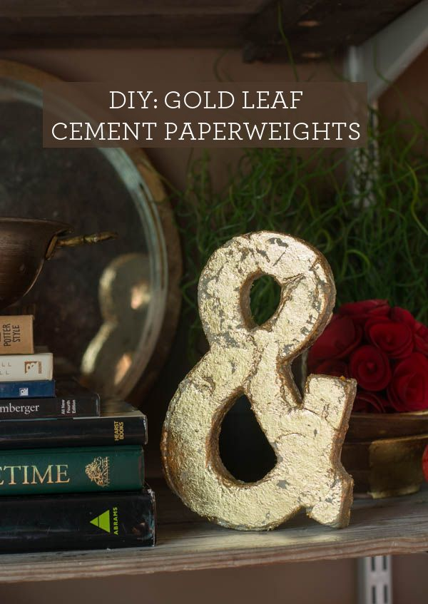 DIY: Gold Leaf Cement Paperweights. Easy to make! Letters, shapes, whatever you like.: Leaf Cement, Diy Gold, Cement Letters 7 Jpg 600 847, Gold Leaf, Crafty Bitch, Babble Com, Cement Gold, Cement Paperweights, Crafty Ideas