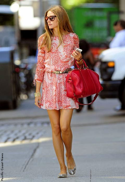 Olivia Palermo works polished boho in a paisley ASOS dress