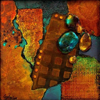 "CAROL NELSON FINE ART BLOG: Mixed media abstract painting, ""Texture Sampler 2""…"