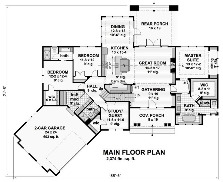 Craftsman House Plan with 4 Bedrooms and 3.5 Baths - Plan 9717