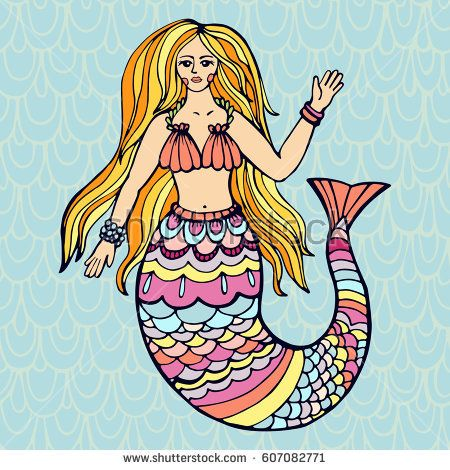 The beautiful young mermaid is hand drawing in vector. Illustration can be used for cover, business card, logo, background for  poster.