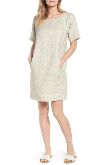 e41708947c ... returns on Eileen Fisher Scoop Neck Linen Blend Dress (Regular    Petite) at Nordstrom.com. The look of linen blends with the casual feel of  a T-shirt in ...