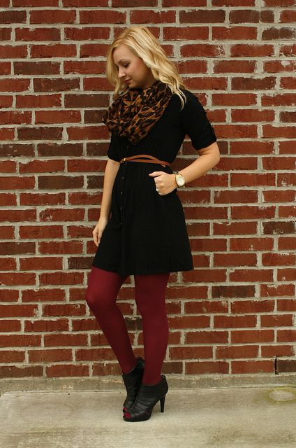 Goodwillista | black dress & red tights