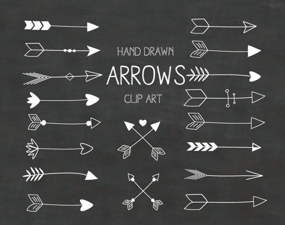 White Hand Drawn Arrows Clipart A set of 18 by Thelittleclouddd