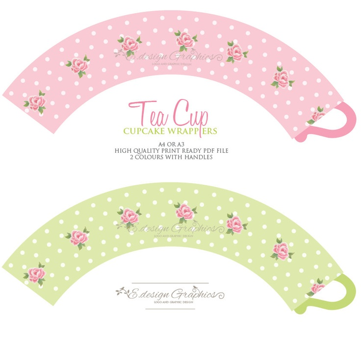 Tea Cup Printable Cupcake Wrappers - Tea Party Polka Dot Rose Design ...