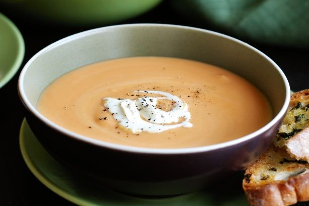 Warm up in winter months with this delicious Sweet potato and garlic soup.