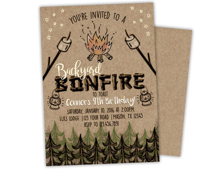 Bonfire Invitations - Bonfire Birthday Invitation - Bonfire Party Invite - Rustic Camping Invitation - Backyard Bonfire Party - Kids Adult by PartyPrintExpress on Etsy https://www.etsy.com/listing/487390329/bonfire-invitations-bonfire-birthday