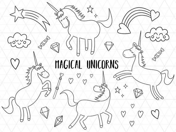Magical Unicorns Line Art, Unicorn Clipart, Unicorn Outline, Unicorn Party, Unicorn Coloring Page, Unicorn Invitation, Unicorn Printable  This listing is for a clipart set of 21 digitally hand drawn high quality unicorn design elements. Can be used digitally or in print. Perfect for invitation design, scrapbooking, cardmaking, stickers, announcement cards, blogs, greeting cards, web design, decorations or anything! Looks great on light and dark backgrounds.  ≈≈≈≈≈≈≈≈≈≈≈≈≈≈≈ WHAT YOU GET…