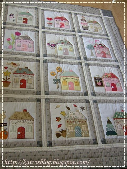 Country Cottages ~ Beautiful little applique and embroidery houses. http://katrosblog.blogspot.cz/