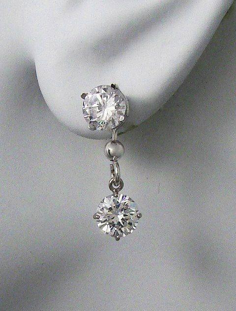 Earring Jackets For Studs 14k White Gold Dangling Jacket Post Diamond Round Cubic Zirconia Jdw6mrcz