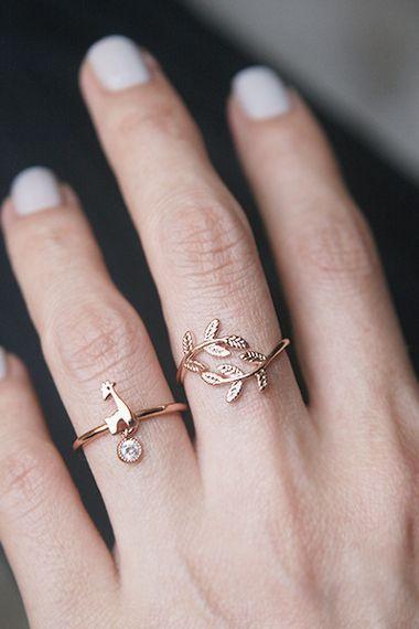 CZ Charm Rose Gold Giraffe Ring from kellinsilver.com