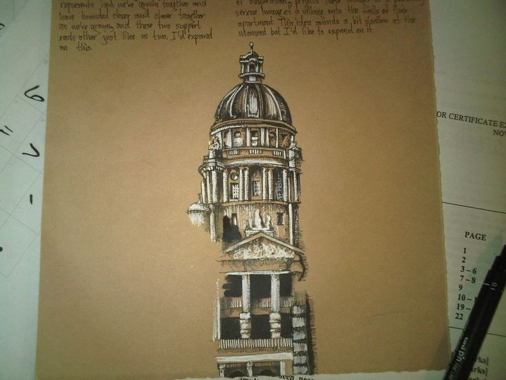 A central building surrounded by my brainstorming in my Visual Journal