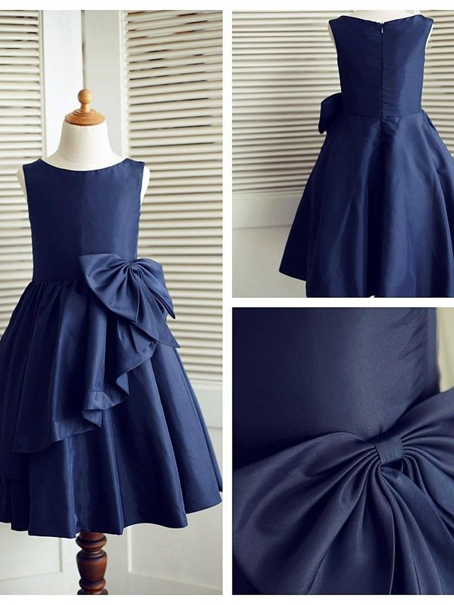 A-line Knee-length Flower Girl Dress - Taffeta Sleeveless - USD $59.99