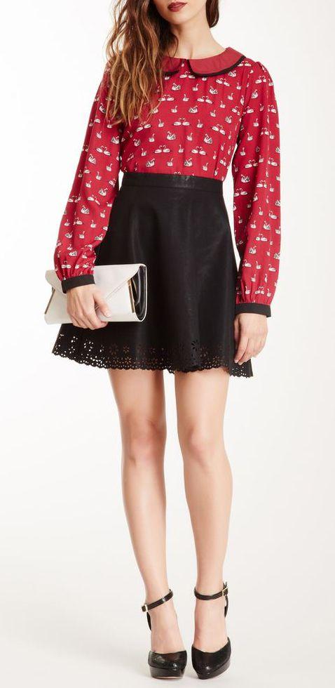 Fresh-Cut Flower Cutout Skater Skirt