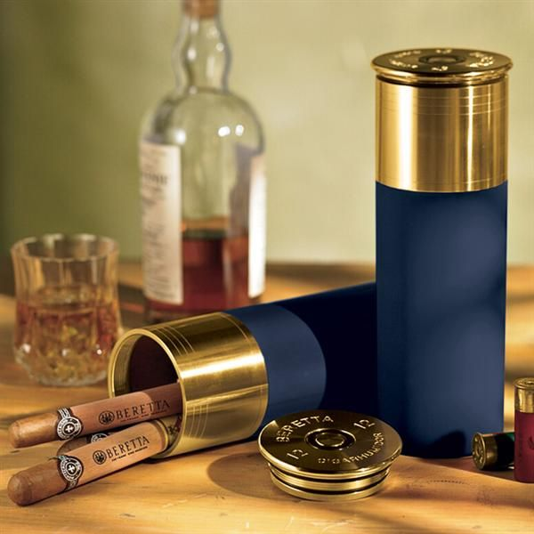 Beretta Shotgun Shell Cedar-Lined Travel Cigar Humidor. An accurate replica of a 12-gauge shotgun shell, this cigar humidor is lined with Spanish cedar for flavor retention and enhancement. Inside the lid, the new Access Humidifier will ensure that your cigars stay within the ideal 70% humidity level regardless of where you travel.