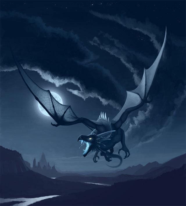 Dragon Flying at night