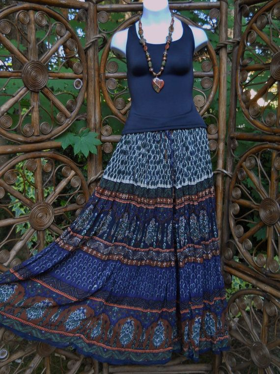 Her Style navy and rust gypsy broomstick skirt by LamplightGifts, $13.00
