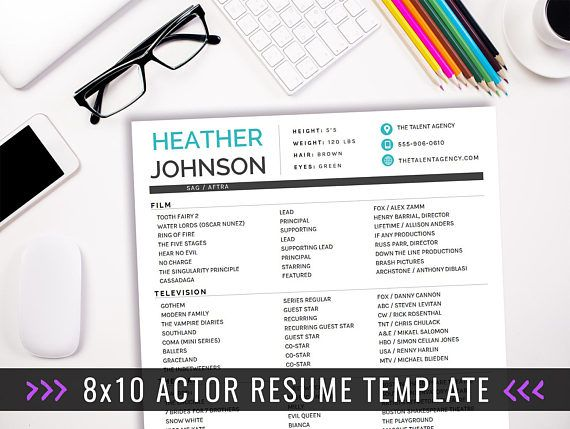 actor resume template 8 x 10 acting resume instant digital download ms word actor marketing heather blue