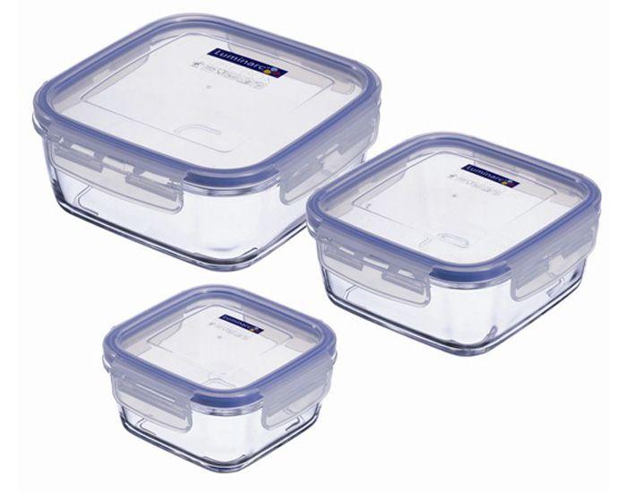 Set de 3 Contenants Alimentaires Carrés en Verre Pure Box LUMINARC