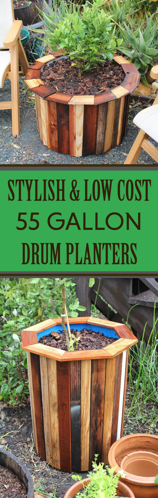 Jazz up plastic drums to make stylish planters.