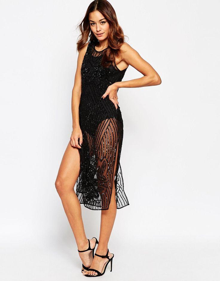 ASOS Sequin Embellished Tabard Midi Dress