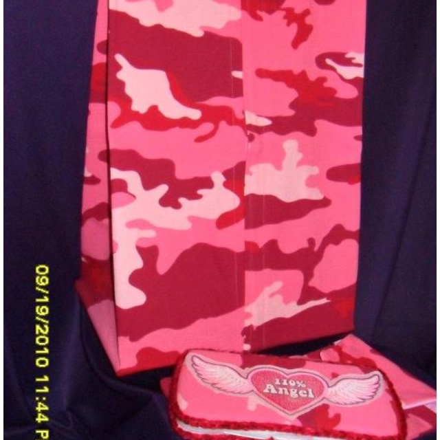 Pink Camo diaper stacker, diaper pouch and wipes case set with Angel and wings detail on wipes case. AngelFace Originals.