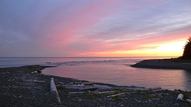 Sunset at Beano Creek Camp. Nootka Island Trail, British Columbia, Canada