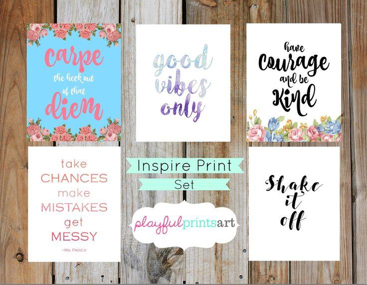 Inspirational Print Set, 8x10, Instant Download by playfulprintsart on Etsy