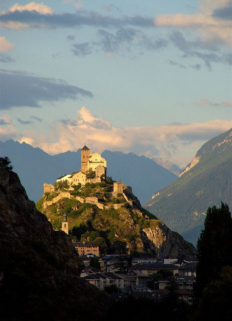 Cathedral on hill Sion, Switzerland (by bas:il)