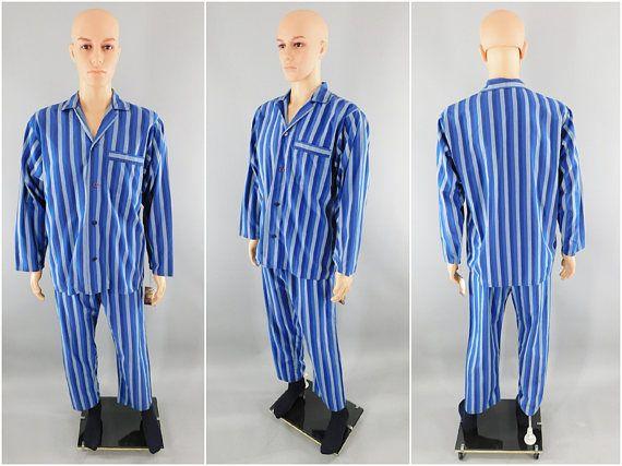 Vintage Men's Pajamas / Men's PJs / St Michael Pajama Set / Vintage Menswear Sleep Set / Size Medium M / Made in England / Blue Stripe / UK #VintagePjs #MensPajamas #MensPajamas #MensPjs #VintagePajamas