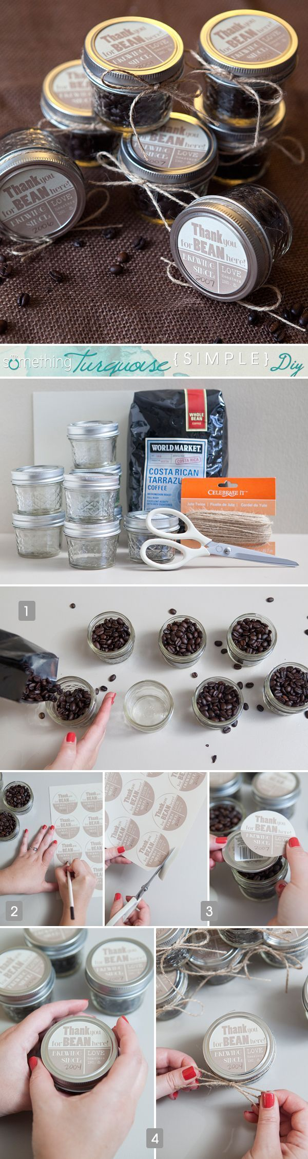 Simple DIY | Coffee Jar Favors Or use little plastic bags and put out different types of chocolate covered coffee beans and regular coffee beans in large bowls.