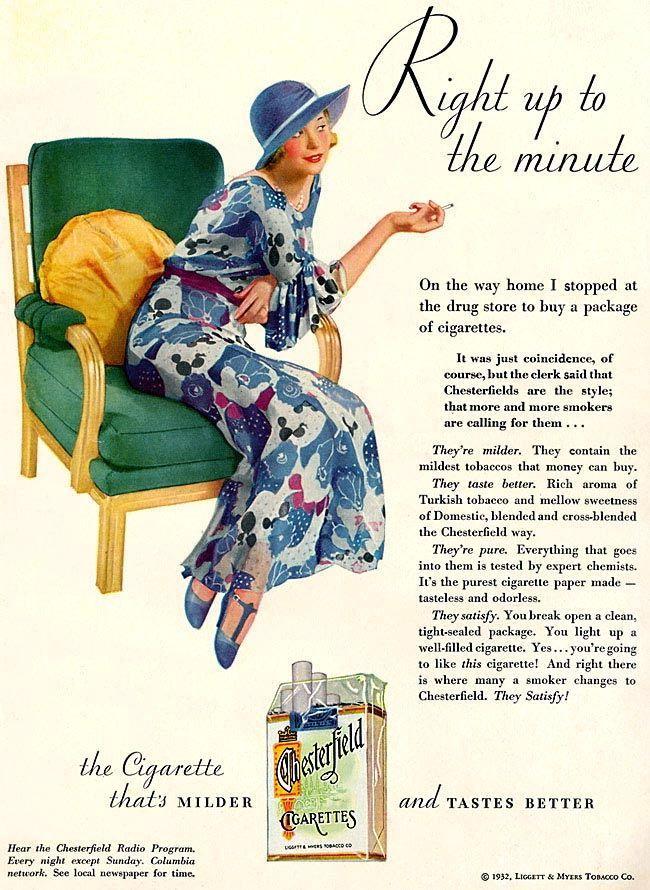 Cigarette Chesterfield Advertising 1932 Sleazeballs Bad