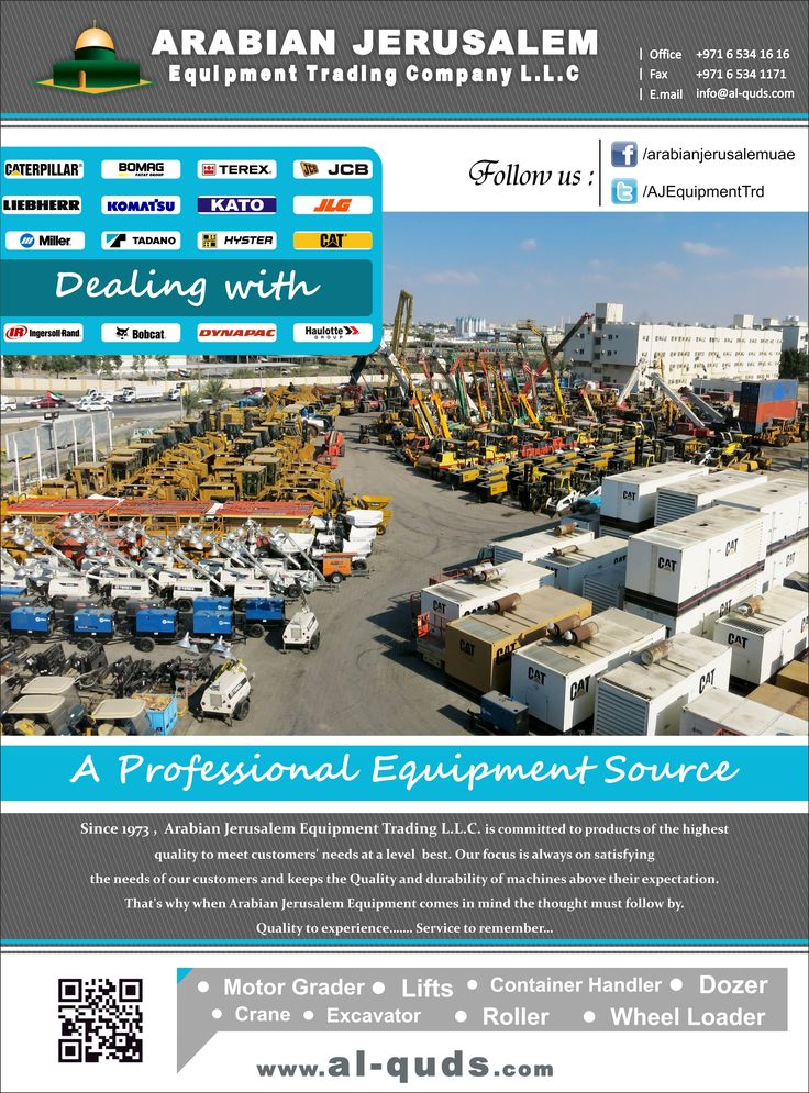 A Professional Equipment Source Here we are to provide you the most reliable,  durable & powerful machinery in a commitment to  success for your business.  Visit us at: www.al-quds.com  Contact us: +971 6 5341616   Email: info@al-quds.com #ajc #uae #usedmachinery #constructionequipment #caterpillar #terex #jcb #komatsu #dozer #excavator #earthmoving #ceskytrucker