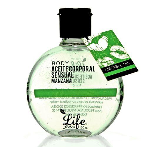 LIFE ACEITE SENSUAL LIFE BODY MANZANA 100ml Posee propiedades emolientes, hidratantes y relajantes, proporciona nutrientes esenciales que suavizan y protegen la piel. Es comestible.