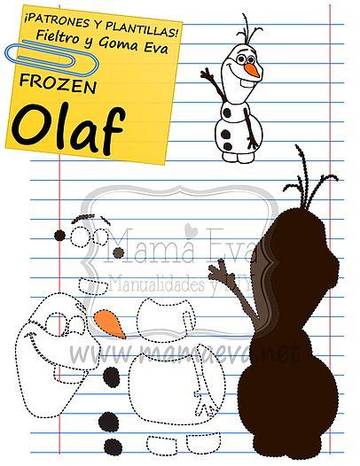 Descarga gratis nuestras plantillas para goma eva y fieltro de tus personajes favoritos: Anna, Elsa, Olaf, Sven, Kristoff...