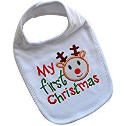 My First Christmas Handmade Embroidered Baby BIB with Holiday Reindeer (White)