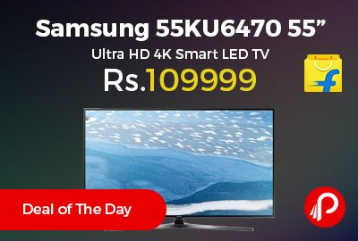 """Flipkart is offering 38% off on Samsung 55KU6470 55"""" Ultra HD 4K Smart LED TV at Rs.109999 Only. 20 Speaker Output, 100 Hz Refresh Rate, Dolby Digital Plus, DTS Codec, 1 Year Standard and 1 Year on Panel.  http://www.paisebachaoindia.com/samsung-55ku6470-55-ultra-hd-4k-smart-led-tv-at-rs-109999-only-flipkart/"""