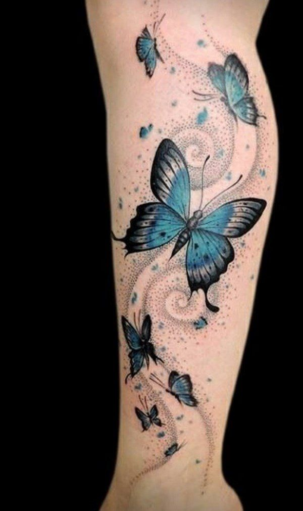 Butterfly Tattoo With Flower And Swirls Leg Tattoos Butterfly Tattoo Vine Tattoos