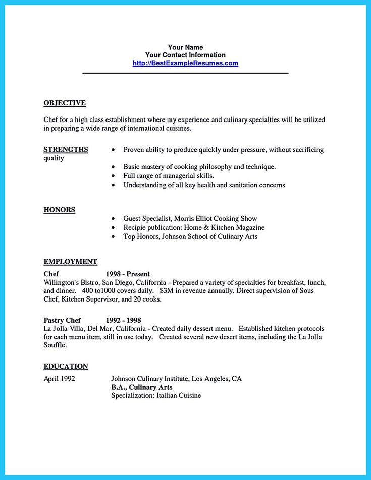 Culinary Resume Examples Free Culinary Resume Samples Chef Sample