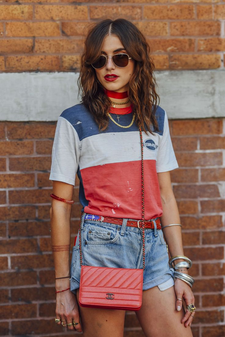 Chanel, Sunglasses, Red, White, Blue, Stripes, Denim, Shorts, Women, Model Off Duty, Models, Graphic Tees, Bracelets, Bags, Necklaces, Belts, Rings, T Shirts, New York, Aviators, Langley Fox, Chokers, 1 Person, Quilted, SS17 Women's