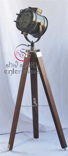 Floor Lamp Home Decorative  Item Code : N24-6562   Finishing : Black Antique   Material : Aluminium & Timber Wood   Dimension : Full open height -98cm