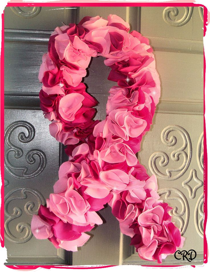 Breast Cancer Awareness Pink Ribbon Fabric Flower Door Wreath. $30.00, via Etsy.