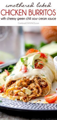 "Smothered Baked Chicken Burritos AKA ""skinny chimichangas"" are better than any restaurant without all the calories! made super easy by stuffing with the BEST slow cooker Mexican chicken and then baked to golden perfection and smothered in most incredible"