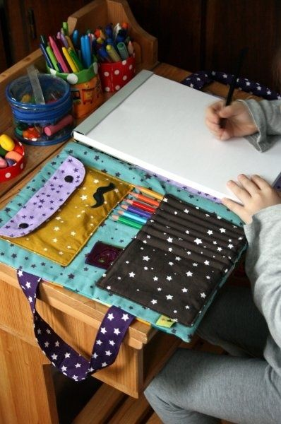 Bag artist ... the tutorial! Adult version: writing pad, pencils, pens…