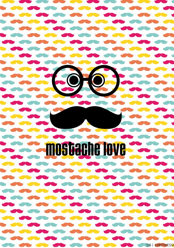 mostache love by Emi Finessi, via Behance
