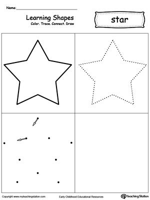 **FREE** Learning Shapes: Color, Trace, Connect, and Draw a Star Worksheet. Learn the star shape by coloring, tracing, connecting the dots and drawing with My Teaching Station printable Learning Shapes worksheet.