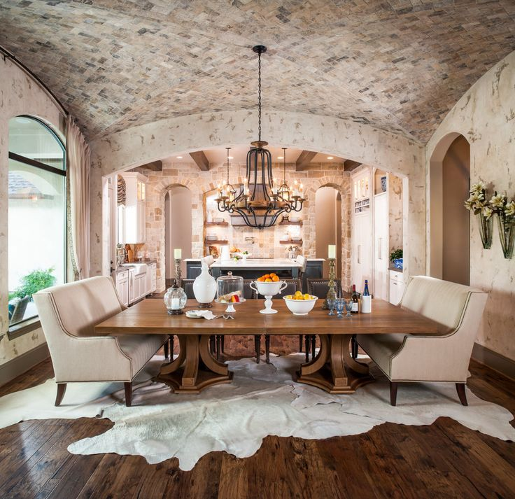 12 Rustic Dining Room Ideas: Rustic Dining Room, Large Cowhide Area Rug, Rustic Wood