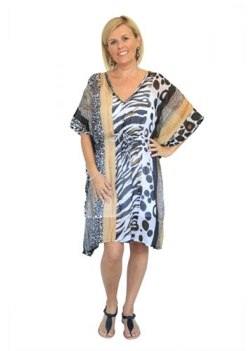 CLOTHING :: Monochrome & Animal Kaftan Dress -