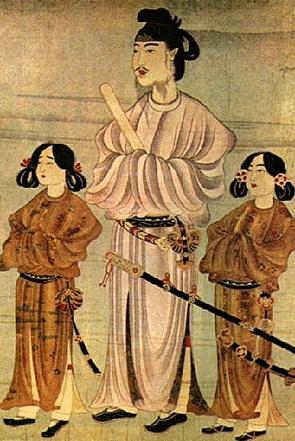 아좌태자, 쇼토쿠태자의 초상화, 597    삼국시대의 많은 화가들이 일본으로 건너가 아스카 문화에 이바지하였다.     초상화의 주인공인 쇼토쿠태자는 일본 고대문화와 불교진흥에 힘쓴 인물이다.  이집트의 작품들에서 살펴본 바와 같이 중요한 인물은 크게 그리고 나머지 인물은 작게 표현하면서 그 인물의 중요성을 두드러지게 나타내었다.     6세기후반에는 삼국시대의 많은 화가들이 일본으로 건너가 문화를 전파시켰는데, 역사적으로 볼 때 일본과 가장 가까운 시기였고 특히 백제와 일본과의 관계가 더욱 그랬다. 고대의 작품이기 때문에 얼굴의 정밀한 부분이나 옷차림의 세심한 표현은 되어있지 않지만 일본 태자, 왕자들의 모습을 볼 수 있다는 점에서 역사적으로도 의미가 있을 것이다.    태자와 왕자들의 표정이 다소 차이가 있는 점 또한 재미있는 부분이다. 아좌태자가 초상화를 그리며 심리적으로 느낀 부분을 그려넣은 것이라 생각한다.