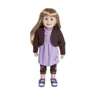 Chocolate Violets: This cute outfit includes a dress with attached jacket, a pair of leggings and journal pages. The flowers are embroidered in purple and pink and the heart shaped buttons glitter like diamonds.